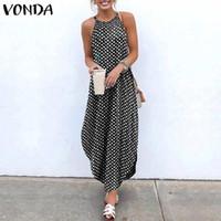 2020 Vonda Kadınlar Sundress Kolsuz Düzensiz Hem Tatil Uzun Elbiseler Polka Dot Baskı Bölünmüş Elbise Rahat Vestidos Artı Boyutu