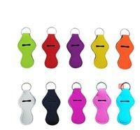 ملون سلسلة المفاتيح النيوبرين حامل الصلبة اللون مفتاح حلقة الأزياء الشفاه حامل أحمر الشفاه كم حزب مهرجان لصالح 10 ألوان WMQ90