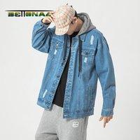 Vestes pour hommes Bettonal Hoodies Vintage Denim Veste Hommes Manteaux Streetwear Hip Hip Jeunes Vêtements Mâle Automne Hoodie Vêtements Corée Japon Pocke
