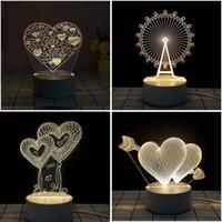 Venta caliente del día de San Valentín regalo 3D lámpara llevó la lámpara de la mesa de la luz de la luz de la luz de la noche para el amante de la esposa del regalo al por mayor