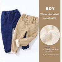 Biniduckling Kış Pantolon Erkek Kız Sweatpants Pamuk Sıcak Polar Uzun Pantolon Erkek Pantolon Giyim Çocuklar için Rahat Pantolon 201128