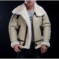 Çift Yüzlü Kürk Hava Kuvvetleri B3 Uçuş Takım Elbise Avustralya Tüm Parçalı Koyun Hakiki Deri Kış Sıcak ve Thich Koyun Kesme Ceket
