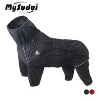 Mysudui Abrigo de perros a prueba de agua Chaqueta impermeable reflectante para perros medianos grandes al aire libre invierno caliente ropa de perro perro mono grande 201102