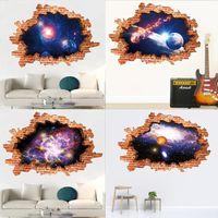 Duvar Çıkartmaları Galaxy Sticker Dış Uzay Çıkarılabilir Zemin Çıkartmaları Sanat Sihirli 3D Gökyüzü Gezegen Ev Dekor Çocuk Çocuk Yatak Odası Duvar Resimleri