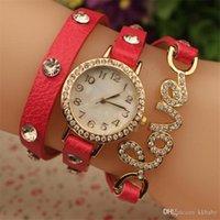 Véritable cuir de vachette cuir punk mode vintage femme regarder cristal amour pendentif dames robe montres amour wrap bracelets montres
