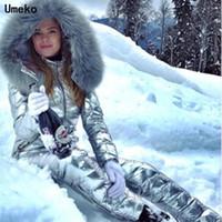 UMEKO Moda Kış Kapüşonlu Tulumlar Parka Pamuk Yastıklı Sıcak Sashes Kayak Takım Düz Fermuar Tek Parça Kadın Casual Eşofman Y200106