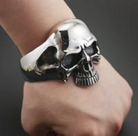 Moda Gotik Metal Büyük Ağır Kafatası Erkekler Biker Kaya Punk Bilezik Bilezik