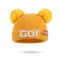 الخريف والشتاء الأطفال محبوك قبعة 2020 جديد الحافظة الحافظة محبوك الصوف قبعة الأطفال الكرة مزدوجة الصوف كاب