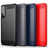 아이폰 12 Pro Max Samsung Galaxy S21 Plus Ultra A02S S20 Fe LG Stylo 6 디자인 케이스에 대한 탄소 섬유 TPU 전화 케이스