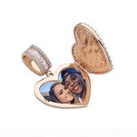 Designer Herz Halskette Herren Hip Hop Schmuck Euro ausgegangen Anhänger Diamant Clamshell Fotorahmen Anhänger Luxus Charms Bling Gold Silber Mode