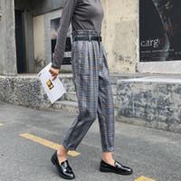 Frauen Hosen Capris Frauen Herbst Korea Mode Hohe Taille Lose Trauers All-Matched Casual Vintage Plaid Weibliche Harem Plus Größe