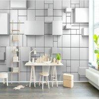 Modern Lüks 3D Beyaz Küp Geometrik Tuğla Duvar Duvar Kağıtları Oturma Odası Ofis Çalışma Duvar Kağıtları Ev Dekor 3D Duvar Resimleri