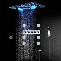 Torneiras de chuveiro de bronze conjunto de chuveiros de chuva de chuva diodo emissor de luz de banho cabeça de chuveiro de banheiro Sistemas com jato de pulverizador de massagem