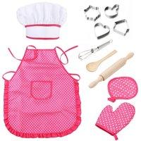 11 PCS Niños Cocinar Set de horneado Delantal Para Niñas Chicas Chef Sombrero Mitt Utensilio para Dijer Dormista Vestir Chef Traje Play LJ201211