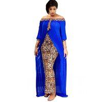 Primavera outono moda solta leopardo mulheres maxi vestidos longos vestido de divisão lazer retalhos ao ar livre strapless sexy vestido africano sexy