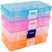 10 slots Organizador de Jóias Transparente Plástico Caixa de Armazenamento Caso Organizador Container Titular Recipiente para Beads Ring Brincos