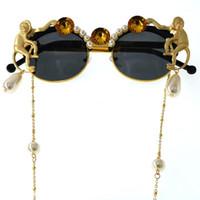 Lunettes de soleil 2021 Lady Gold Monkey Baroque Baroque Métal Rétro Léopard Cadre Beach Chain Perle Perle Sun Verres pour femmes1