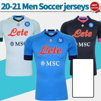 2021 Napoli Soccer Jersey # 24 Insigne # 14 Mertens 20/21 Uomo Camicia da calcio Blu Blue Personalizzato 3RD Uniformi di calcio Nero