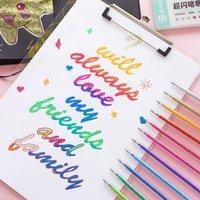 12 adet Flaş Glitter Renk Fosforlu Marker Kalem Tükenmez 1.0mm Metalik Renkler Çizim Boyama Albümü Tasarım Sanat Okulu A6894 201102