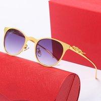 Großhandel Vintage Sonnenbrille Frauen mit Tasche Twin Balken Runde Brille Marke Designer Metallrahmen Töne Sonnenbrille Gafas de Sol Mujer Box