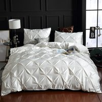 مجموعات الفراش الحرير غسلها مجموعة غطاء لحاف فاخرة سرير مزدوج غطاء سرير الملكة حجم الملامح البياضات اللون الصلبة