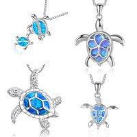Fashion Blue Opal Sea Tortue Pendentif Colliers pour femmes Femme Animal Mariage Déclaration Chaîne Collier Ocean Beach Bijoux Cadeau