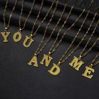 A-z رسائل صغيرة القلائد النساء فتاة ذهبية اللون قلادة الأولي سلسلة رقيقة الإنجليزية إلكتروني مجوهرات الأبجدية هدية