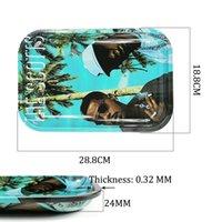 Medium Rolling Bandeja de fumo fumando acessórios de fumar rolo de cigarro de mão 28.8x18.8cm estanho placa de armazenamento de metal conjunto de capa magnética