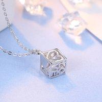 925 plata esterlina plateada amor cubo colgante joyería diamante caja cadena hembra amor cubo cuadrado no cadena navidad regalo 48 n2