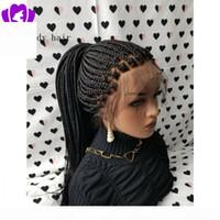 Boîte de vente chaude Boîte de tresses Perruque avec bébé cheveux noirs Brésilienne pleine dentelle avant perruque résistante à la chaleur perruque tressée synthétique pour femmes noires