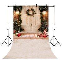 Vinil Fotoğraf Backdrop Noel Ağacı Çelenk Hediyeler Bebek Mum Glitter Işık Çocuk Arka Fotoğraf Stüdyosu S-21051 Için