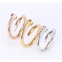 Nagelring Titanium Stahl Gold Ring Schwarz Silber Rose Gold Liebe Marke Ring Für Frauen Hochzeit Schmuck Großhandel CH WMTBAD NEUER_DHBEST
