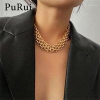 Chokers Punk Chunky Kette Choker Halskette für Frauen Hip Hop Gold Color Layered Collarerklärung Modeschmuck1