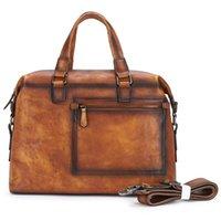 """حقائب رجالي رجل حقيقي حقيبة جلدية 13 """"حقيبة كمبيوتر محمول حقيبة خمر رجل الأزياء التجارية الملحق محفظة crossbody الكتف"""
