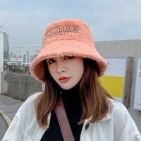 Designer Bucket chapéu mulheres outono inverno espessado pele macia letra quente bordado estilo coreano estilo colorido 2020 nova moda