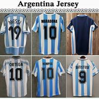 1978 Argentina Retro Jerseys Kempes 1986 Diego Maradona Jersey Camicie classiche 1998 Batistuta Zanetti 2006 Messi Riquelme Uniformi di calcio