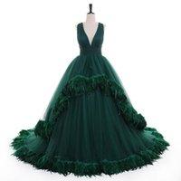 Vestidos de noche de la pluma de la funda de la funda verde Vestidos de noche 2021 Lujo Sexy Sexy en V Cuello de Piel Formal Dress Dress Vestidos Robe de Soire