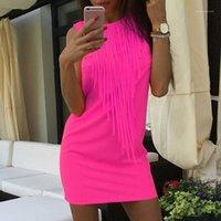 Party платья оптом- Oioninos Летние женщины сексуальное платье флуоресцентный цвет кисточка повседневная без рукавов Slim Fit Mini Vestidos1
