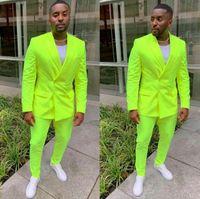 Erkek Takım Elbise Blazers Tpsaade Yeşil Erkek Takım Elbise Ceket Pantolon Kruvaze Custom Made Resmi Düğün Smokin İş Erkekler Giyim (Ceket + Pantolon