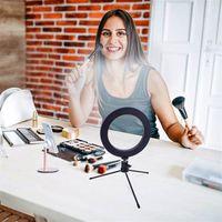 Hot Sale 8 tums Diameter 20cm Live Fill Light Desktop Tripod 13W 5V 84LED lampa pärlor vit ljus USB-anslutning Dimmerbar ringljus