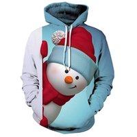 겨울 패션 3D 프린트 착용 크리스마스 모자 남자를위한 귀여운 눈사람 후드 남자 여자 의류 소년 스웨트 hoody 까마귀 키즈 크리스마스 코트