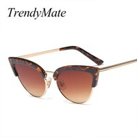 Óculos de sol tendimato gato óculos de sol para mulheres senhoras meia quadro Óculos mulheres retrô sunglass moda uv400 5371
