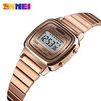 Skmei المرأة الرياضة الساعات الذهب السيدات عارضة ساعة اليد led الإلكترونية الرقمية ووتش 5ATM ساعات للماء relogio feminino 201215