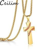 Мода крест подвески ожерелья спортивный бейсбол золотой цвет Христос Иисус кулон из нержавеющей стали ожерелье религиозные украшения