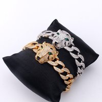 Green eyed leopard head domineering Cuba chain hip hop Chaoren full set zircon universal bracelet for men women jewelry wholesale