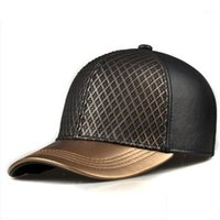 الكرة قبعات RY988 الحصري 2021 للجنسين الهيب هوب جلد طبيعي القبعات البيسبول الرجل / امرأة الذهبي الشبكة صافي السطح شارع gorro1