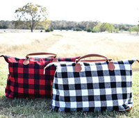 Buffalo Check Handbag Red Black Plaid Bags Large Capacity Tr...
