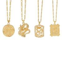 Nova moda dragão pingente colares para mulheres homens cor ouro vintage rosa gargantilha colar mascote ornamentos jóias presente