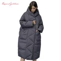 Herbst und Winter Outwear Frauen Weiße Ente X-Long-unten warme Jacke mit Kapuze in Mode Cocoon Parkas Plus Size 7XL Design-201118