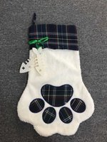 كبير رقيق سانتا الجوارب عيد الميلاد كلب منقوشة مخلب تخزين شنقا مدفأة شجرة عيد الميلاد الديكور CCF3489